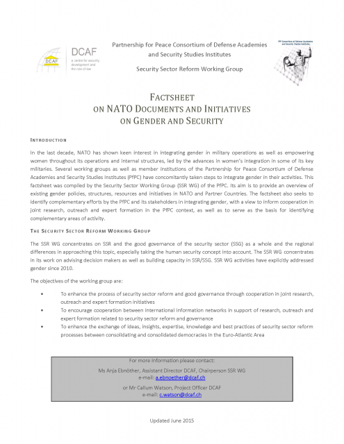 201506 FACTSHEET ON NATO DOCUMENTS AND INITIATIVES ON GENDER AND SECURITY