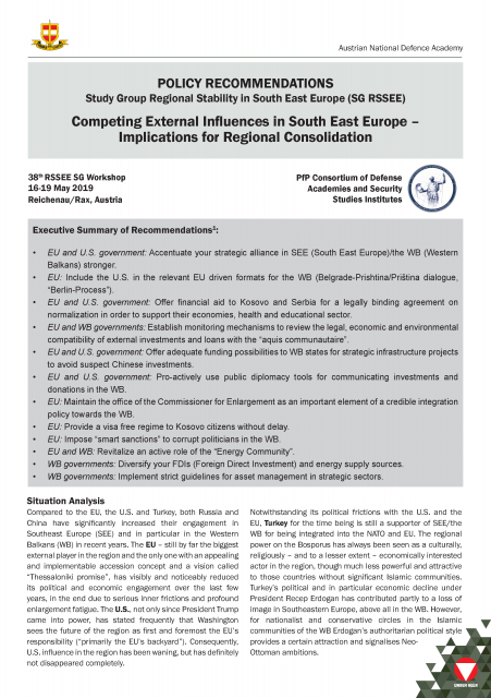Competing External Influences in South East Europe – Implications for Regional Consolidation