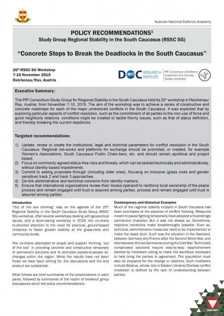 Concrete Steps to Break the Deadlocks in the South Caucasus