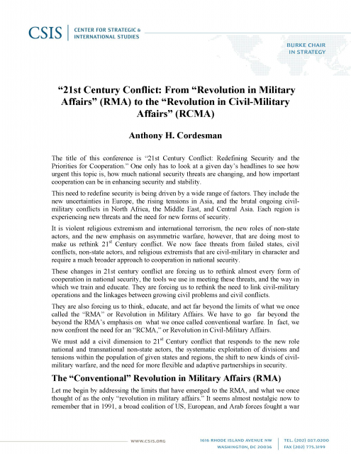 """""""21st Century Conflict: From """"Revolution in Military Affairs"""" (RMA) to the """"Revolution in Civil-Military Affairs"""" (RCMA)"""